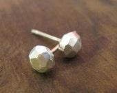 Faceted Stud Earrings - Faceted Earrings - Sterling Silver Facted Stud Earrings