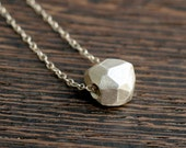 Faceted Sterling Silver Bead Pendant