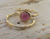 14k Gold twig ring to go with Rose Cut Pink Sapphire Ring in 18k and 14k