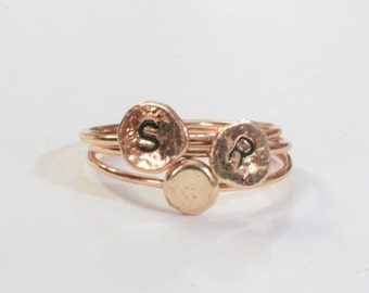 Initial Rings 3 14k Stackables