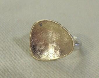 14K Yellow Gold / Diamond / Silver Ring