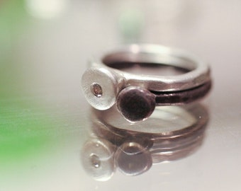 Silver and Diamond Ring Set