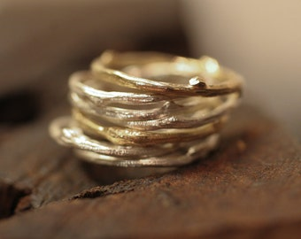 Stack of Twig Rings /  Sterling and 14k Y Gold