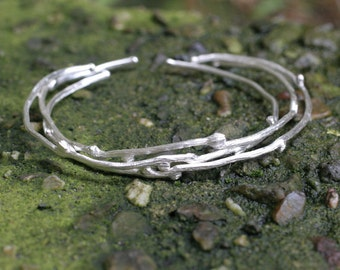Twig Bracelets Sterling Silver Set of 3