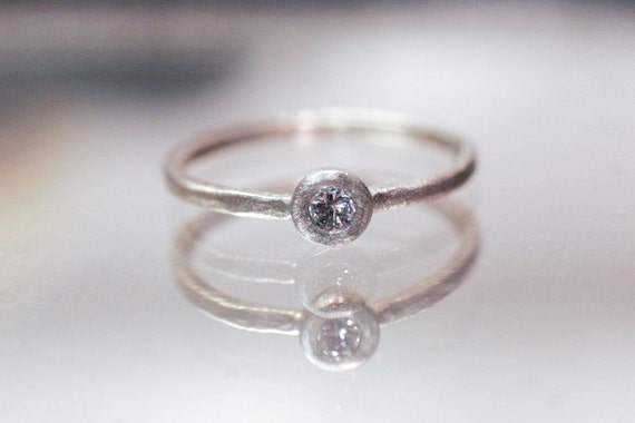RESERVED LISTING 14k W/P Gold .08ct Diamond Solitaire