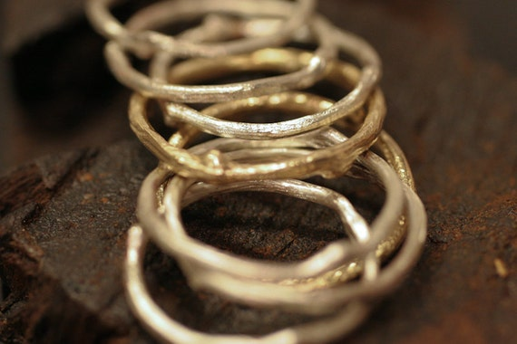 Stack of 3 Sterling Silver Twig Rings