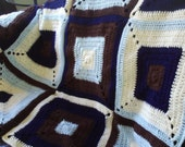 Baby Boy or Child 52x38 Crocheted Blues and Brown Blanket/Throw