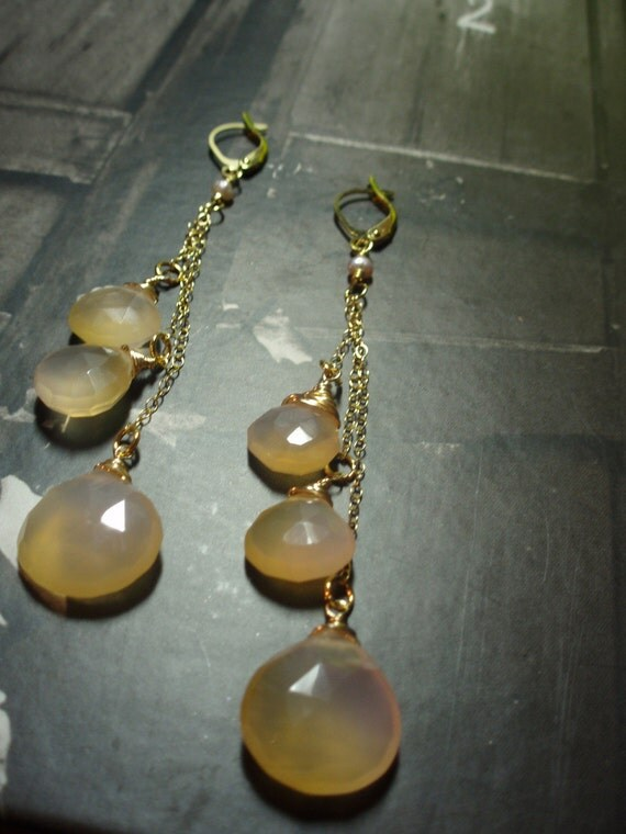 Peach Moonstone Briolette Earrings