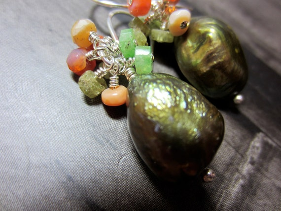Green Garnet, Mexican Fire Opal, and Green Baroque Pearl Cluster Earrings