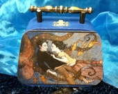 RESERVED -For Claire- Romantic underwater scene mermaid fish octopus love Blue Box Purse