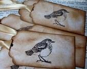 Vintage Bird Handmade Gift Tags-Holidays-SET of 6-Ribbon Choice Available