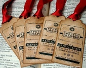 Special Delivery from Santa-Vintage Style Christmas Labels/Gift Tags SET of 6-Choice of Ribbon