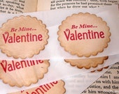 Be Mine Valentine Sticker Seals/ Love Stickers Vintage Style/ Set of 12/ Color Choice