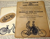 Victorian Bicycle Wedding Invitation/ Set of 50 Invites/ Steampunk Vintage Invitations
