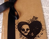 Gothic Heart and Skull Kraft Pocketbook Perfect for Gifts and Favors