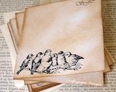 Personalized Vintage Bird Notecards with Envelopes 4 x 4/ Stationery Gift/ Customised Writing Set/ Set of 10