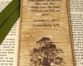 Rustic Save The Date Bookmark with Matching Envelope-Woodgrain Tree Design-by Craftypagan Designs