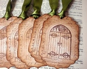 The Secret Garden Tags/ Garden Gate Vintage Style 6 Tags/ Nature Garden Gift Tags/ Skeleton Key Tags/ Ribbon Choices