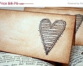 End of Summer Sale Shabby Chic Heart Place Cards SET of 6-Vintage Style-FEATURED ON The Front Page Of Etsy
