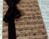 Music Notes Notebook/ Stationery Gift/ Kraft Pocketbook/ Unisex Journal Small/ Plain Lined Square Paper and Ribbon Choice/