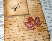 Autumnal Table Numbers-Fall Leaf with Script-Double Sided-Unique Original Design by Craftypagan Designs
