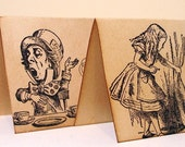 Alice in Wonderland Vintage Style Place Cards x 6 Mixed Characters-WITH Guest Name Printing