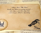20 Save the Date Postcards-Vintage Birds-With Envelopes and Sticker Seals