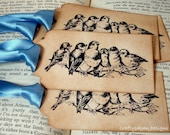 Birds on a Branch Gift Tags/Hand Tags/Labels SET of 6-Ribbon Colour Choice Available