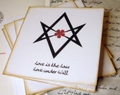 Unicursal Hexagram Note Cards/ Thelemic Notecards/ Thelema OTO Greeting Cards/ SET of 5 With Envelopes
