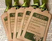 Naughty or Nice Christmas Tags or Labels-SET of 20-in OLIVE-Ribbon Choice Available