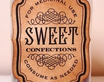 Sweet Confections Labels/ Vintage Candy Jar Gift Tags/ Retro Sweetie Labels/ Candy Station Tag Sign/ Vintage Style SET of 6-Ribbon Colours