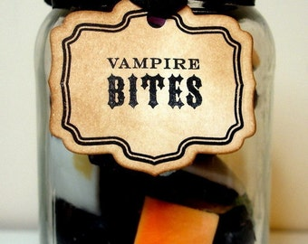Halloween Tag -Vampire Bites -Vintage Style Small Labels/Gift Tags SET of 10