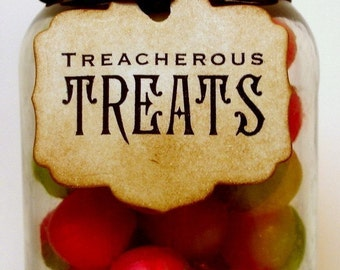 Treacherous Treats Halloween Vintage Style Small Gift Tags SET of 10/ Halloween Party Tags/ Trick or Treat Spooky Tags for Jars