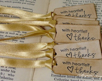 With Heartfelt Thanks-Luxury Tiny Thank You Tags Set of 100-Ribbon Choices Available-Perfect for tying to Favors