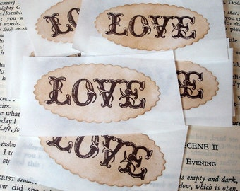 Love Hearts Vintage Style Gift Tags Labels Set Of By