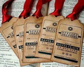 Special Delivery Christmas Tags/ Present Tags from Santa/ Do not Open/ Christmas Labels/ Gift Tags SET of 10/ Choice of Ribbon