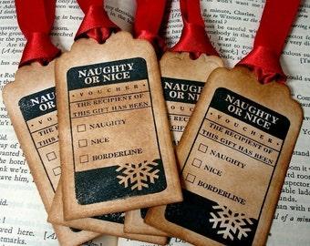 Christmas Tags Naughty or Nice/ Vintage Xmas Tags/ Holiday Gift Wrap/ Set of 20/ Ribbon Choice