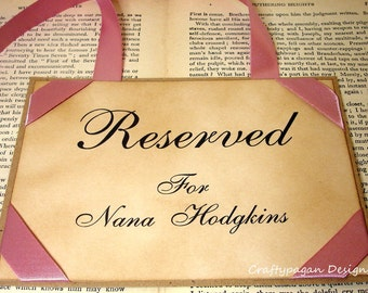 Wedding Seating Signs Set of 3 -Ribbon Colour Choices Available by Craftypagan Designs