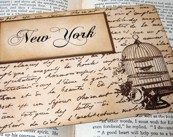 Birdcage Wedding Table Cards with French Script-Double Sided-Original Design by craftypagan