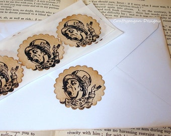 Alice in Wonderland Stickers/ The Mad Hatter Labels/ Alice in Wonderland Sticker Seals/ Invite Stickers/ SET of 30/ Card Stickers Vintage