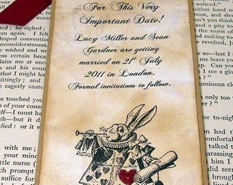 Alice in Wonderland Save The Date Bookmark-Vintage Style-With Envelope by Craftypagan Designs