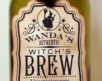 Witch's Brew Halloween Tags/ Set of 6/ Spooky Halloween Bottle/ Ribbon Choice