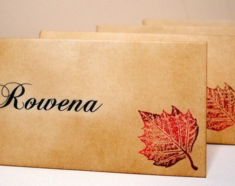 10 x Thanksgiving Place Cards Tented Cards WITH Name Printing and Leaf Design