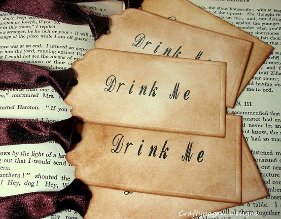 DRINK ME Gift Tags- 6-Alice in Wonderland Mad Hatter Tea Party Stamped and Distressed tags