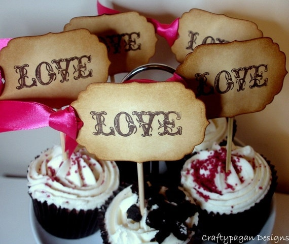 Love-Cupcake Toppers/Food Pick-Perfect for Weddings-SET of 12-Choice of Ribbon Colour