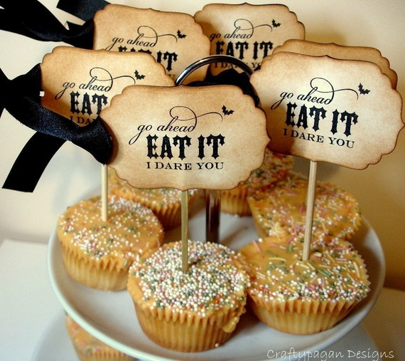 I Dare You Handmade Vintage Style Halloween Cupcake Toppers-SET of 12