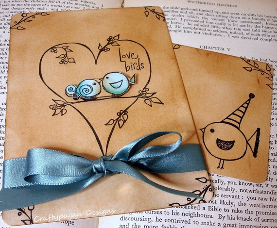 The Love Birds-Wedding Invitation and RSVP Card with Envelopes and Envelope Printing or Love Seals-Optional ribbon Wrap