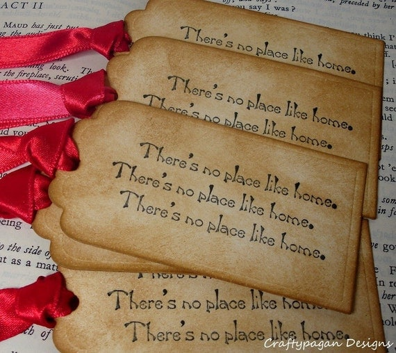 Wizard Of Oz Tags/ No Place Like Home Tag Set/ 6 Vintage Wizard of Oz Party Tags