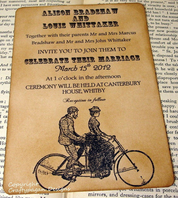 Bicycle for Two-Tandem-Luxury Wedding Invitation with Matching Envelope and Sticker Seal by Craftypagan Designs