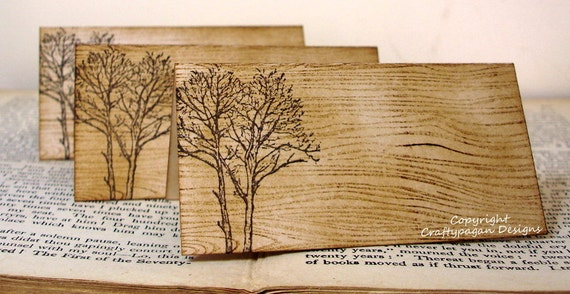 wood grain place cards rustic fall trees set of 50 name